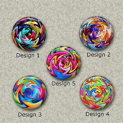 5 x 25mm Bead Whirl Resin Or Glass Cabochons for Jewellery Making