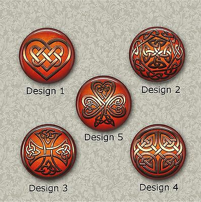 5 x 25mm Orange And Bronze Celtic Resin Or Glass Cabochons for Jewellery Making