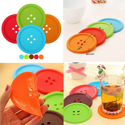1/4/6Pcs Novelty Silicone Button Coasters Tea Cup Cushion Drinks Placemat Holder