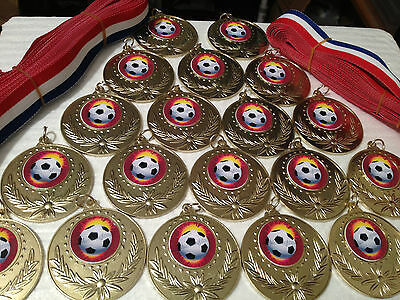 10 x 50mm Gold Metal  Football Medals FREE RIBBONS FREE DELIVERY Great Quality