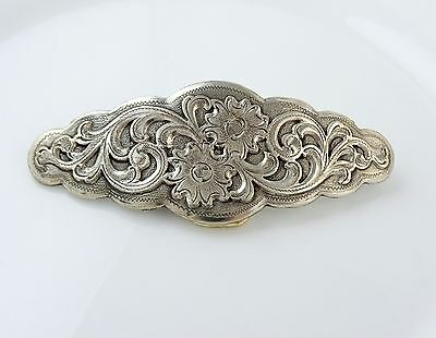 Nice Floral Belt Buckle Silver Tone 1990s