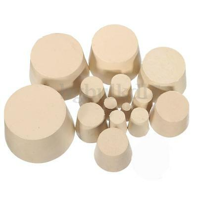 5/10Pcs Laboratory Rubber Stopper Solid Hole Stop Tapered Flask Bung 18 Sizes
