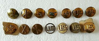Lot of Vintage US Army Military Screwback Buttons Crossed Rifles