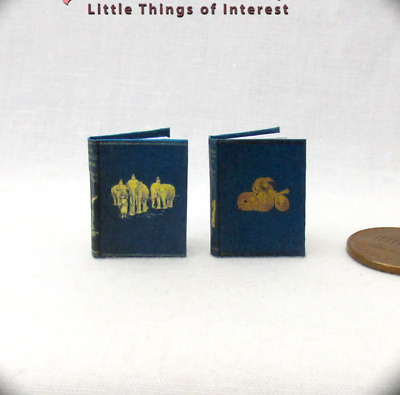 JUNGLE BOOK SET of 2 Dollhouse Miniature Books 1:12 Scale Readable Illustrated