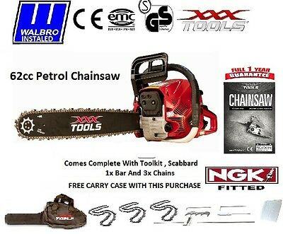 """XXX TOOLS 62cc PETROL CHAINSAW WALBRO CARB 20"""" BAR 3 x CHAINS / CARRY CASE / NGK"""