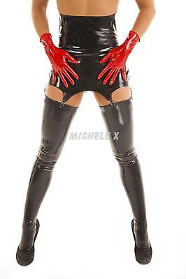 NEW BLACK British Premium Latex Rubber High Waisted Suspender Belt SMALL