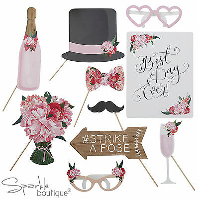 BOHO WEDDING PHOTO BOOTH PROPS - Rustic / Vintage Selfie Kit - Photobooth Signs