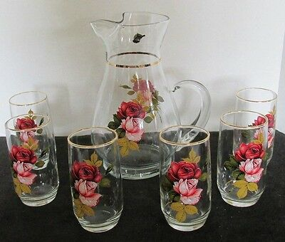 "7 Pcs West Virginia Glass Co Water Lemonade Pitcher 10""h W/ 6 Water Glasses 5""h"