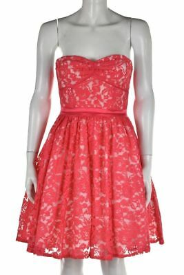 AQUA ~ Coral Pink Lace Overlay Strapless Fit & Flare Party Dress 6 NEW $198