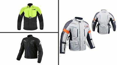 JET Mens Silver/Grey Textile Motorcycle Motorbike Jacket Waterproof CE Armoured