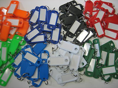 Lot of 100 Key ID Labels Tags with Key Ring Split Rings