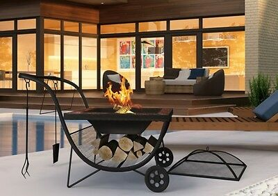Fire Pit Garden Patio Outdoor Heater Portable with Wheels