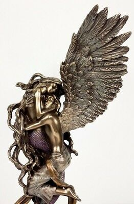 IMPOSSIBLE LOVE Mermaid and Angel Lovers Statue Bronze Finish Selina Fenech