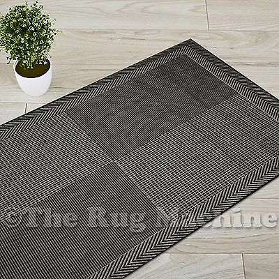 ASCOT OUTDOOR/INDOOR BLOCKS BLACK GREY NON-SLIP FLOOR RUG RUNNER 66x230cm **NEW*