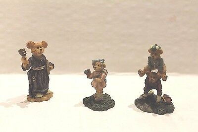 Boyds Town Village Set of 3 School Figures Bears Ms Bruin Phoebe Peter & Jimmy