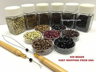 500 Silicone Micro Rings Beads Feather Hair Extension Hook Loop Tool Kit