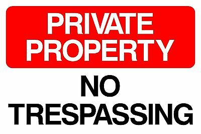 """8""""x12"""" Private Property No Trespassing Sign Plastic or Metal"""