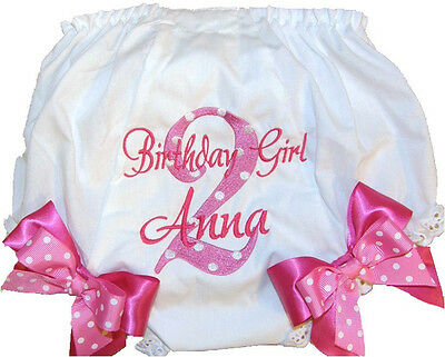 Personalized 2nd Birthday Baby Girl Diaper Cover Pink Dots with Pink Free Ship