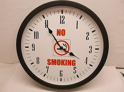 New NO SMOKING Analog Clock Electric/Batt 14-3/8 In Black (B11)