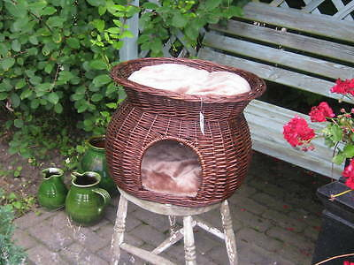 Dog Cat Basket Rustic 2 Tier With Cushion  Wicker