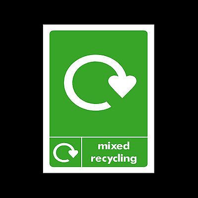 Mixed Recycling - Plastic Sign or Sticker - Choose Size & Material