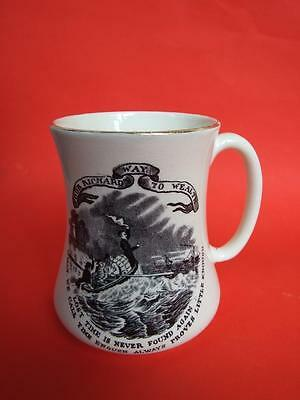 Vintage Maling'' Poor Richard Way To Wealth'' Ironstone Comic Mug Made England
