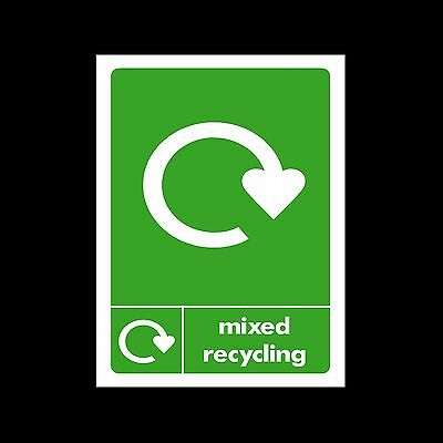 Mixed Recycling - Plastic Sign, Sticker - All Sizes/Materials