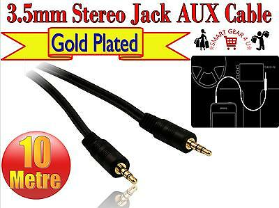 10m Gold 3.5mm Jack to Jack 30 foot Cable Stereo AUX Lead For Phone Headphone PC