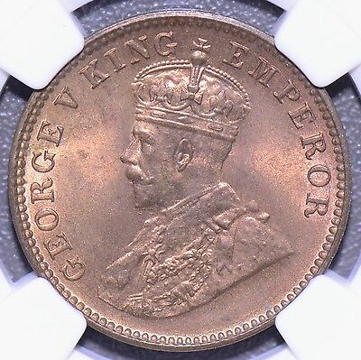 NG0132 British India 1936 C 1/4 Anna NGC MS 65 RB
