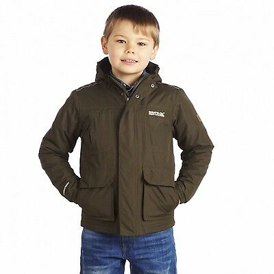 Regatta Dewey Boys Hooded Waterproof Insulated Fleece Lined Jacket