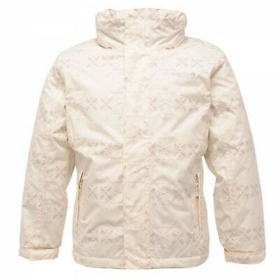 Regatta Euell Girls Waterproof Breathable Padded Pattern Jacket White