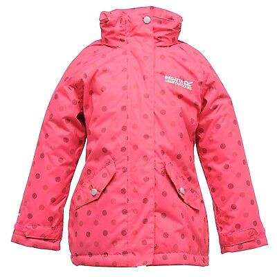 Regatta Peppie Girls Waterproof Padded Insulated Hooded Spotted Jacket Pink