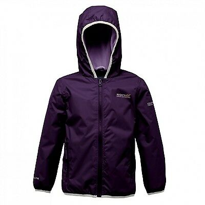 Regatta Lever Girls Hooded Lightweight Waterproof Breathable Jacket Purple