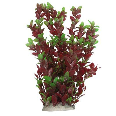 40cm Plastic Green Red Leaves Water Plants Ornament for Fish Tank Aquarium S*