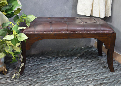 Colonial Bench Two Seater Ottoman Stool Tufted Vintage Teak Wood Natural Leather