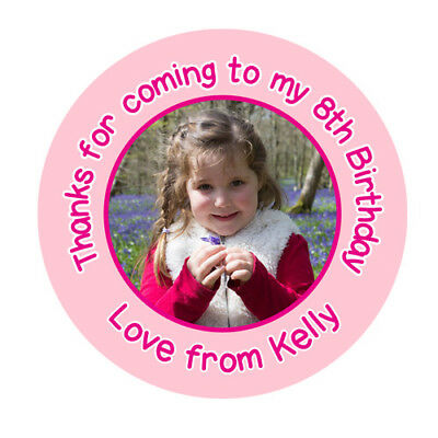 PERSONALISED Birthday Party Bags Favour Sticker Labels Custom Own Photo Image