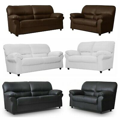 NEW Faux Leather Candy 3 Seater+2 Seater Sofa Set Black Brown Cream Red Suite