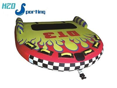 H2O Sporting Flaming DT3 2 3 Person Lay On Top Water Ski Tube /Towable &Tow Rope