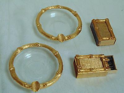 Vtg Elegant Glass Gold Metal HOLLYWOOD REGENCY Personal Ashtray Box Matches Set