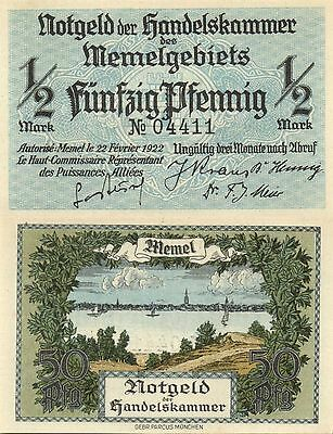 MEMEL / LITHUANIA / GERMANY - 50 Pfennig  1922     P.1    5 digits serial    UNC