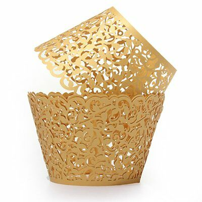 12X Filigree Vine Cake Cupcake Wrappers Wraps Cases Gold  S*
