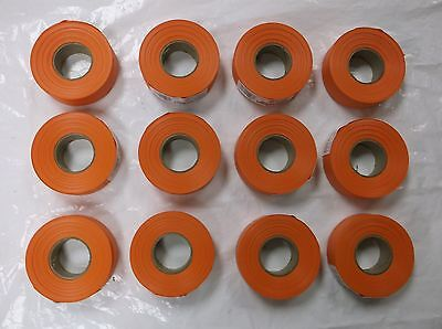 "KESON INDUSTRIES LOT OF 12 ROLLS FLAGGING TAPE 1 3/16"" x 300'  ORANGE"