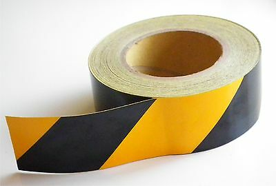 2x 13m WARNING TAPE BLACK AND YELLOW ROLL SELF ADHESIVE HAZARD SAFETY CAUTION