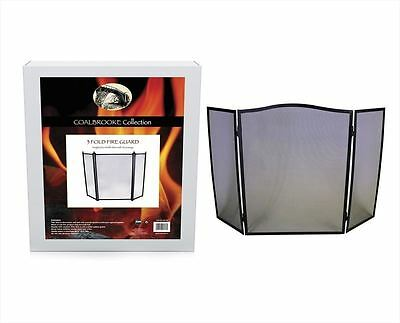 New Black 3 Folding Fire Guard Screen Safety Fireplace Protective Spark Guard