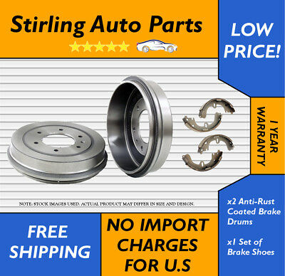 2 Anti Rust Coated Brake Drums And 4 Brake Shoes Rear Fits Honda Civic 35094G