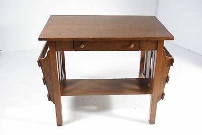 B356 Antique Arts & Crafts Mission Quarter Sawn Tiger Oak Desk, Library Table