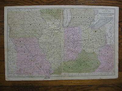 Rare Antique Map of WESTERN VIRGINIA and Western States 1852 - and Territories
