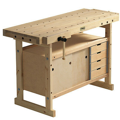Sjobergs SJO-66822K Nordic Plus Birch Wood Workbench and Storage Cabinet Combo