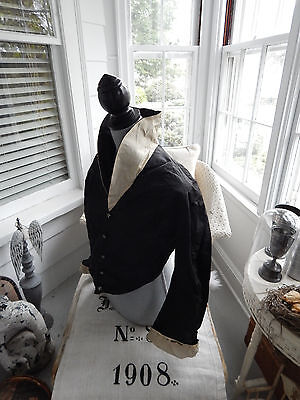 Antique Victorian Jacket Bodice Beauitful Hand Painted Buttons Mourning