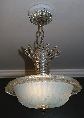 Antique blue glass art deco light fixture ceiling chandelier 1940s